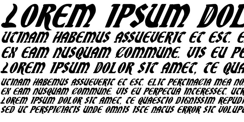 Sample of Sable Lion Italic Italic