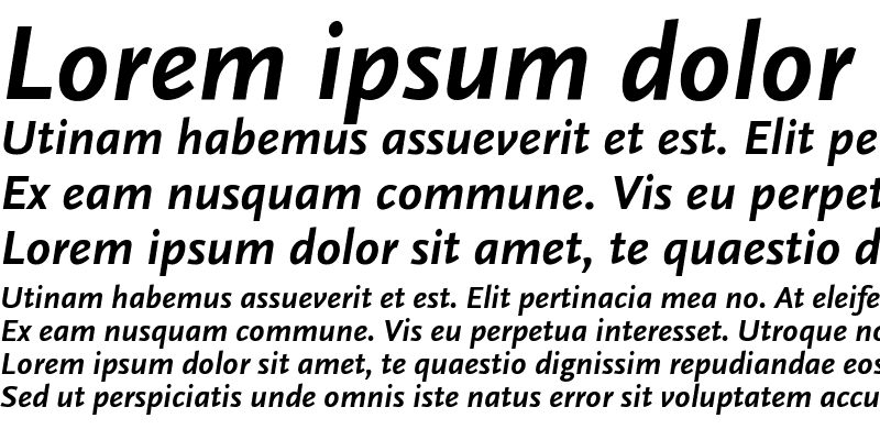 Sample of ScalaSans Bold Italic