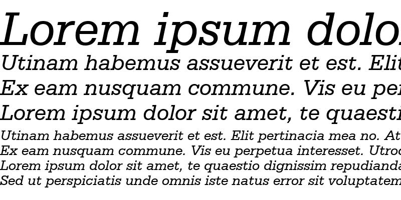 Sample of Serifa BT Italic