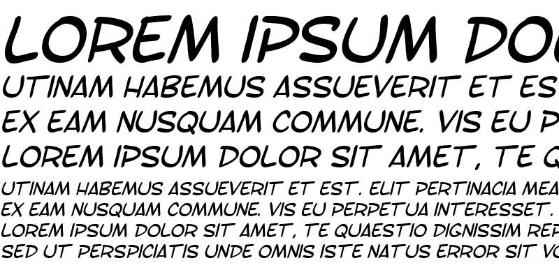 Sample of SF Toontime Italic