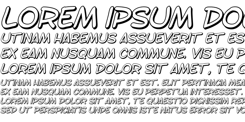 Sample of SF Toontime Shaded Italic