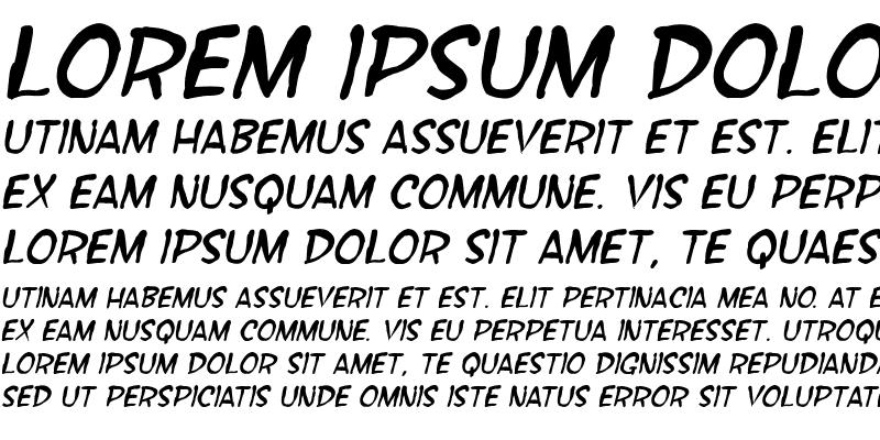 Sample of SF Wonder Comic Blotch Italic
