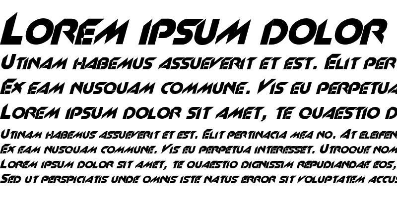 Sample of Space 4 Italic