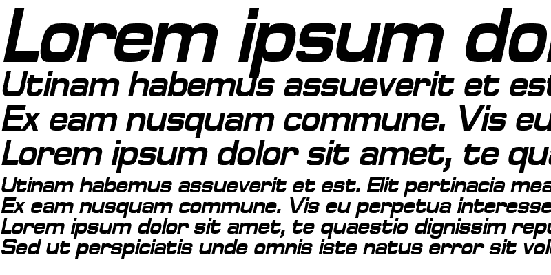 Sample of SpaceOutBoldCondensed Italic