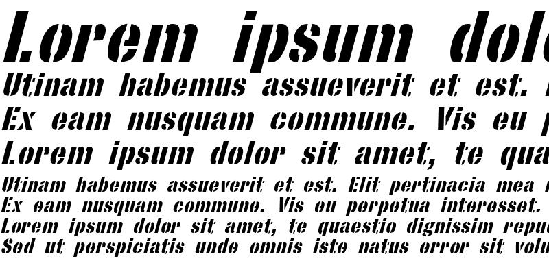 Sample of StencilSans Bold Italic
