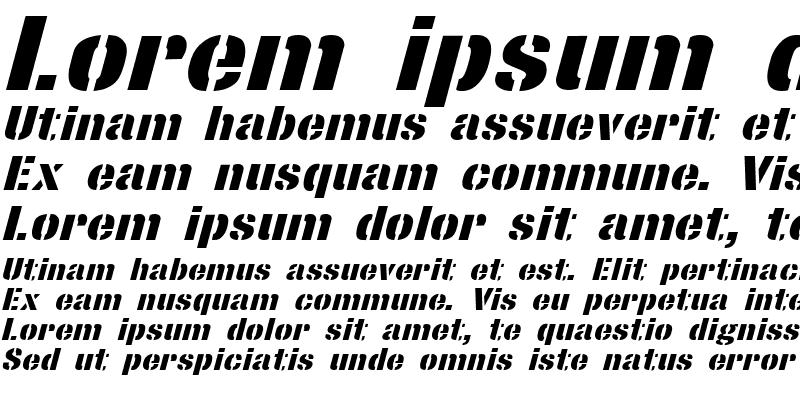 Sample of StencilSans Extrabold Italic
