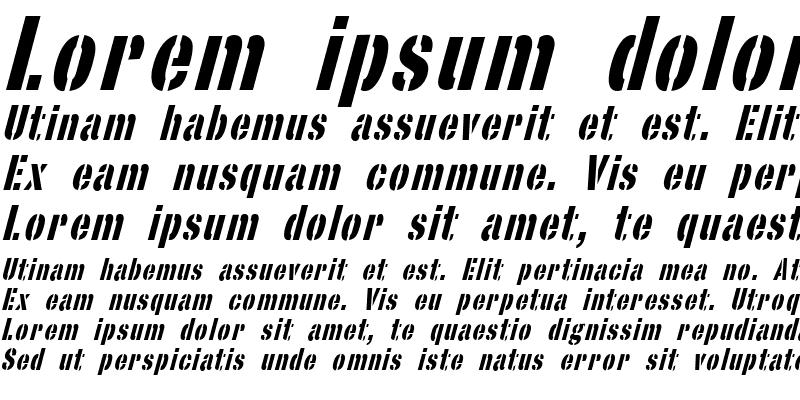 Sample of StencilSans Italic