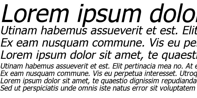 Sample of Tahoma Faux Italic