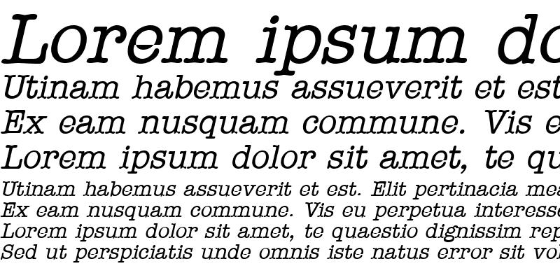 Sample of Typewriter Oblique