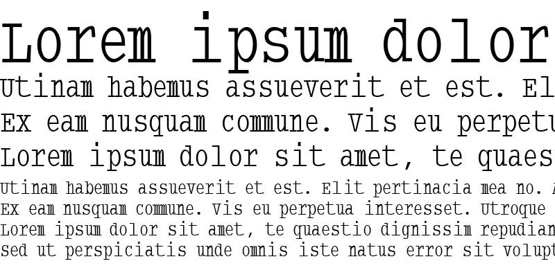 Sample of TypewriterCondensed Regular