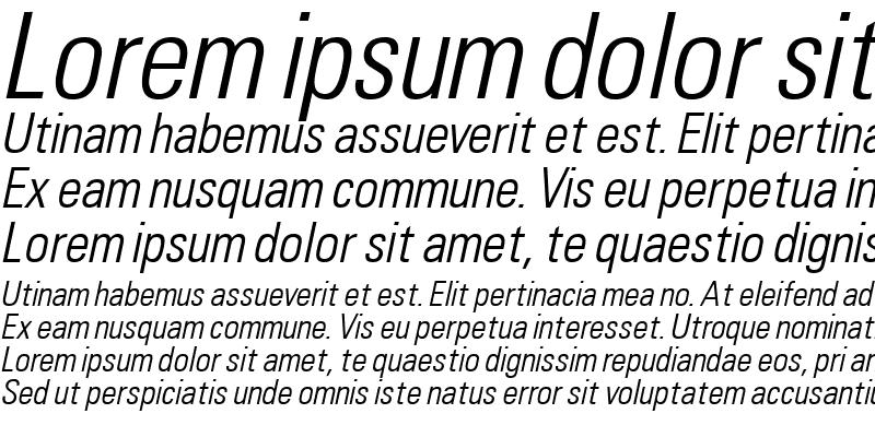 Sample of Uniform Condensed Light Italic