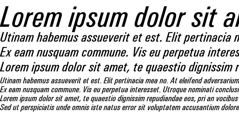 Sample of Univers Condensed Medium Italic