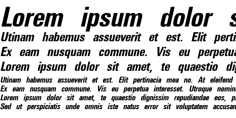 Sample of Universal Condensed Bold Italic