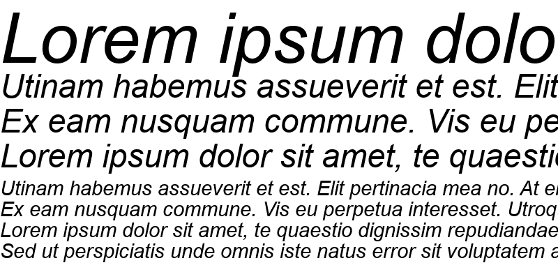 Sample of US Plain Italic