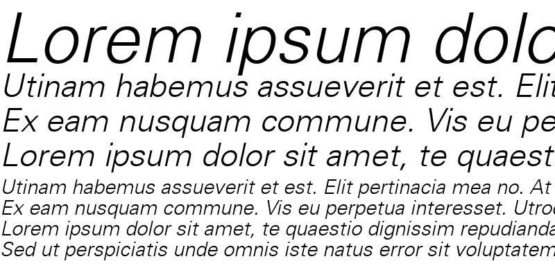 Sample of USA Light Italic