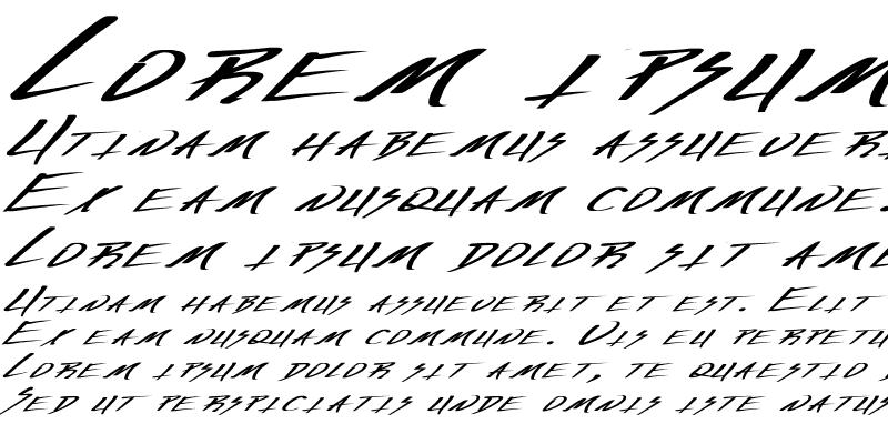 Sample of Vecker Ex Bold Italic Regular