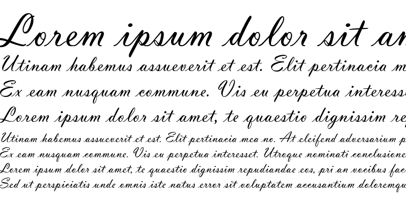 Sample of Vladimir Script (Slanted Less)