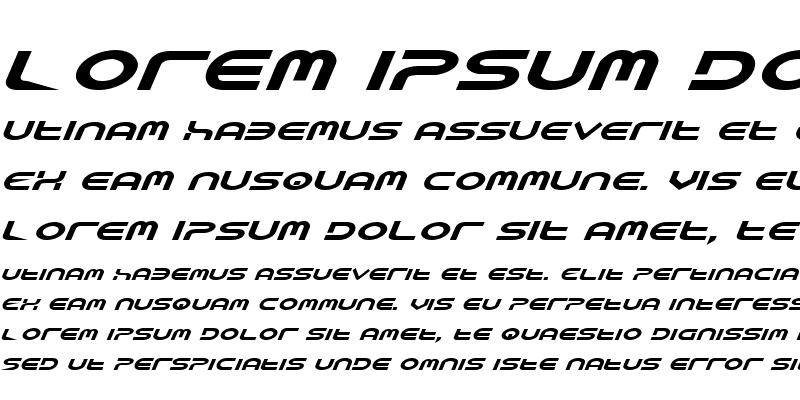 Sample of Yukon Tech Expanded Italic