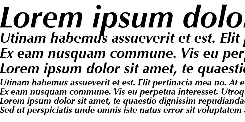 Sample of ZapfHumnst BT Bold Italic