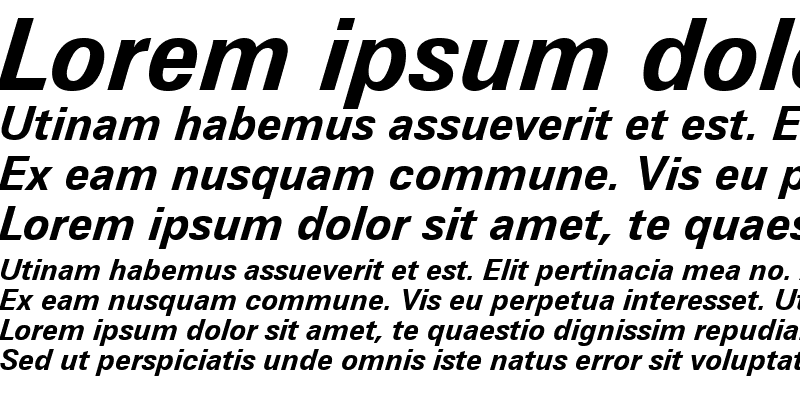 Sample of Zurich WGL4 BT Bold Italic