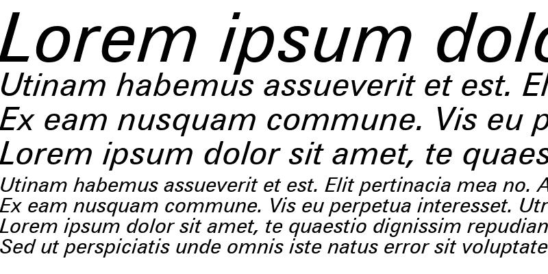 Sample of Zurich WGL4 BT Italic
