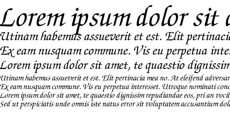 Sample of ZurichCalligraphic Italic